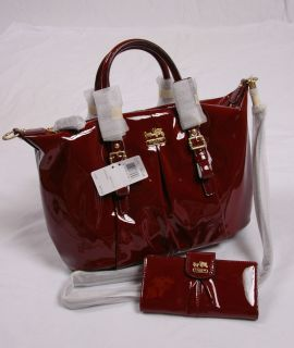 NWT COACH Madison Patent Leather Juliette Satchel 21243 CRIMSON Wallet