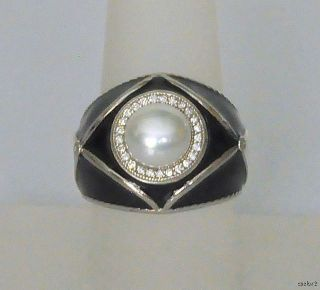 New Zasha by Jude Frances Pearl Enamel Diamond Ring 7