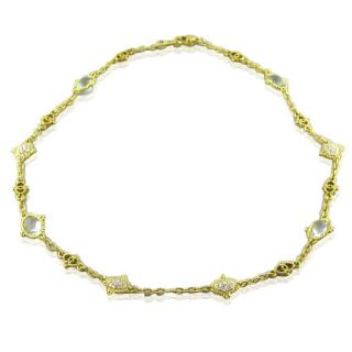 Judith Ripka 18K Gold Green Quartz 2ct Diamond Necklace