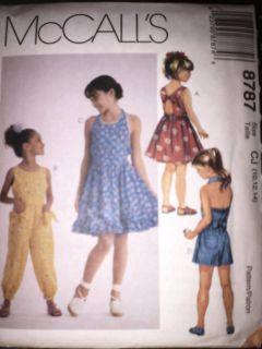 Uncut Vintage McCalls Sewing Pattern Girls Dress Jumpsuit Romper 8787