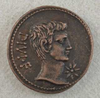 Octavian and Divus Julius Caesar Æ Sestertius Roman Coin