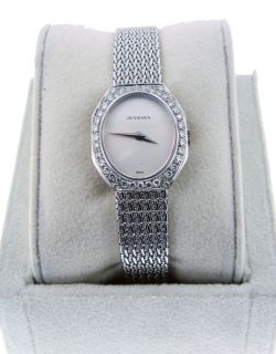 Juvenia Ladies 18kt White Gold Diamond Bezel Watch