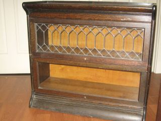 Antique Oak Stacking Bookcase by Gunn Original Leaded Glass 2 Sections