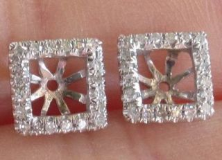 New Pricess 3 5mm 14kt White Gold Semi Mount Diamond Earrings Jackets