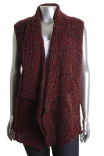 Karen Scott NEW Red Marled Shawl Neck Line Open Front Sweater Vest