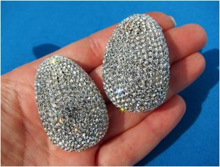 New Huge Jarin Kasi Swarovski Crystal Rhinestone Earrings Silver Base