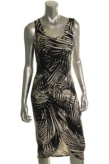 Karen Kane NEW Black White Printed Gathered Front Sleeveless Casual