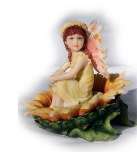 Kathleen Francour Sunflower Throne Fairy Decor Figurine