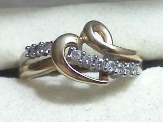 Kay Jewelers 10K Two Tone Gold 1/8** Carat t.w. Diamond Heart Ring Sz