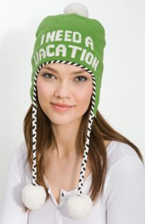 Kate Spade Need A Vacation Green Wool Cute Winter Womens Ski Hat New