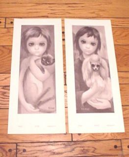 Vintage Walter Keane Prints Print of Child Cat Dog Retro Vintage Art