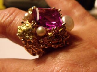 Vintage 14k gold ring w 24k nuggets and large Amethyest stone 3 pearls