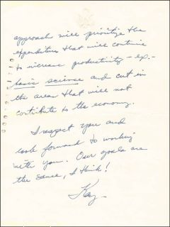 Kay Bailey Hutchison Autograph Letter Signed