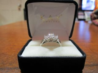 Kay Jewelers 14K White Gold 1 Carat t w Three Stone Diamond Engagement