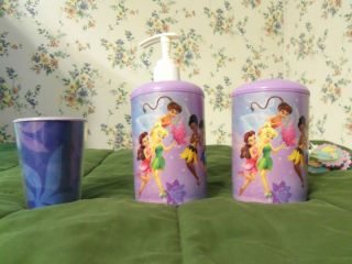 Disney Fairies, Tinkerbell soap dispenser, toothbrush holder, cup, and