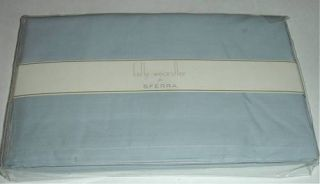 Kelly Wearstler Sferra Queen Tailored Bed Skirt Blue Cotton Percale