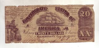 1861 Twenty Dollars $20 T 18 Confederate Currency Richmond