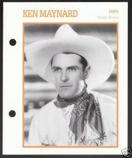 Ken Maynard Atlas Movie Star Picture Biography Card