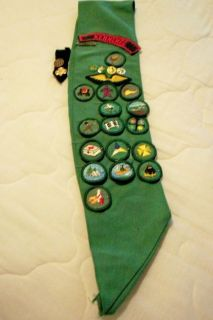 Kennebec Girl Scout Sash with Pins and Badges