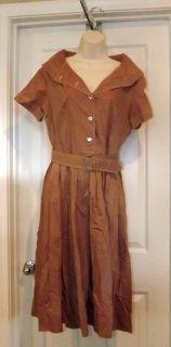 ADORABLE BROWN w belt LUCY rockabilly SAILOR DRESS by ABBY KENT SZ M