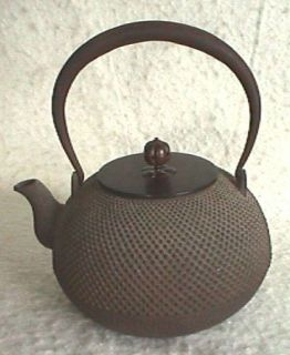 Large Japanese Cast Iron Kettle Bronze Cover 19th Centy