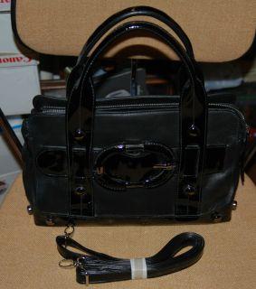 New W O Tag KENNETH COLE Black Leather Patent Satchel Handbag Shoulder