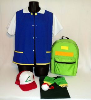 Ash Ketchum Trainer Pokemon Costume Set Halloween Adult Sizes Real