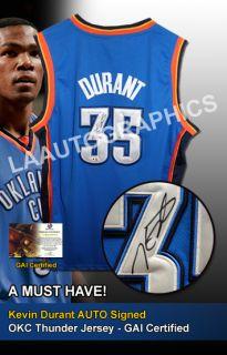 Kevin Durant Auto Signed OKC Thunder Jersey Proof GAI GV691604