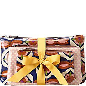 KEY PER KEY blue floral triple pouch NWT travel make up bag organizers