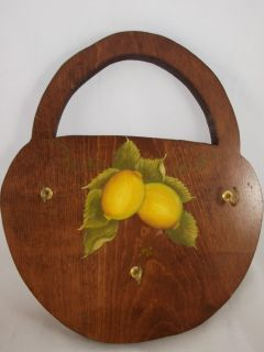Key Holder Lemons Wall Rack Wood Lightweight Wooden 3 Cup Hook Hangers