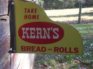 Take Home Kerns Bread and Rolls Metal Sign Originall 1950s Country