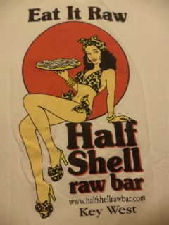 KEY WEST RAW BAR POCKET t shirt L florida oysters sushi EAT IT RAW