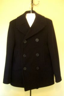 Navy Pea Coat Kersey Wool 34R Vietnam Era