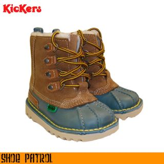 Kickers Kick Infants Kids Boys Girls Tan Blue Leather Winter Boot Size