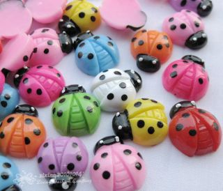 Mix Ladybug Flat Back Resin Buttons DIY Kids Crafts Decoration BT019