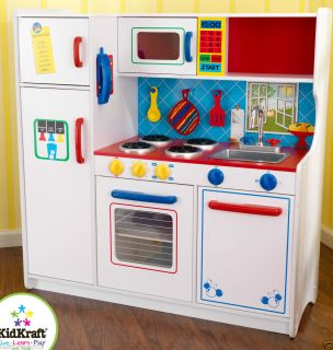 Kids Pretend Play Wood Deluxe White Primary Colors Play Kitchen 53139
