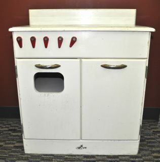 Vintage Child Kids Play Kitchen Stove Wooden with Shelves 2 Doors