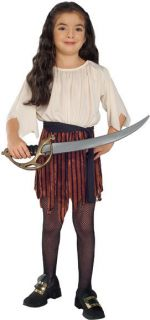 Pirate Wench Buccaneer Queen Brown Dress Child Costume