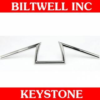 Biltwell Inc. Chrome Dimpled Keystone Handlebars Z Bars Bobber Harley
