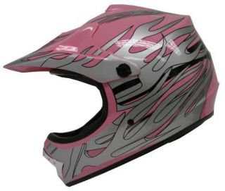 YOUTH PINK SILVER FLAME DIRT BIKE ATV MOTOCROSS MOTORCROSS OFF ROAD
