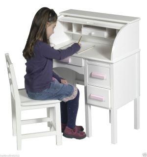 Jr Girls White Wood Roll Top Desk Chair Kids Furniture G97301