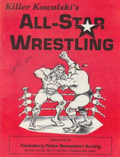 1991 Killer Kowalski All Star Wrestling Program Signed