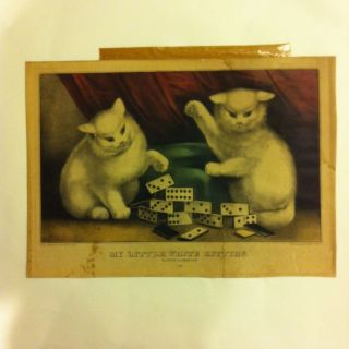 Currier And Ives My Little White Kitties Kittens Cat Cats Playing