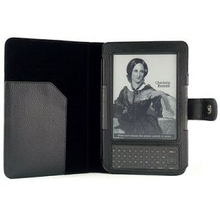 For  Kindle 3 WiFi 3G Black Leather Case Cover Jacket + Screen