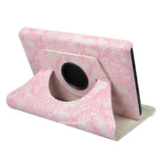 Kindle Fire Leather Case Cover w Rotating Stand Pink Embossed Flowers