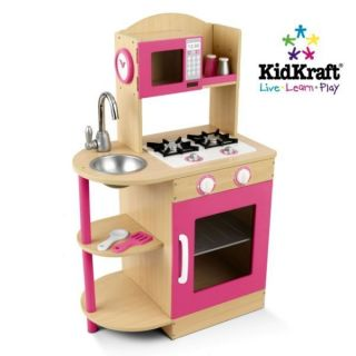 KidKraft Modern Pink Wooden Kitchen Girls Kids Play Set 53195