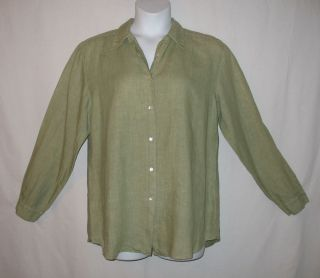 Kiko Sage Green Linen Long Sleeve Button Down Shirt Size Large