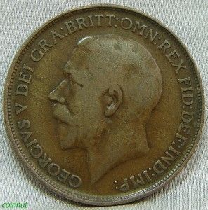 1912 Great Britain King George Penny Coin COINHUT1015