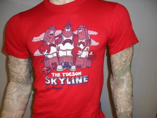 Vtg 80s 90s Arizona Wildcats Basketball Tshirt Tuscon Skyline Red SM