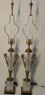 Pair Vintage Paul Hanson Cut Glass Urn Lamps w Brass Marble Bases